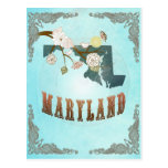 Maryland Map With Lovely Birds Postcard