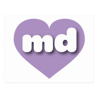 Maryland md lavender heart postcard
