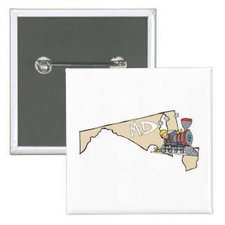 Maryland MD Map & Locomotive Cartoon Art Motto 2 Inch Square Button