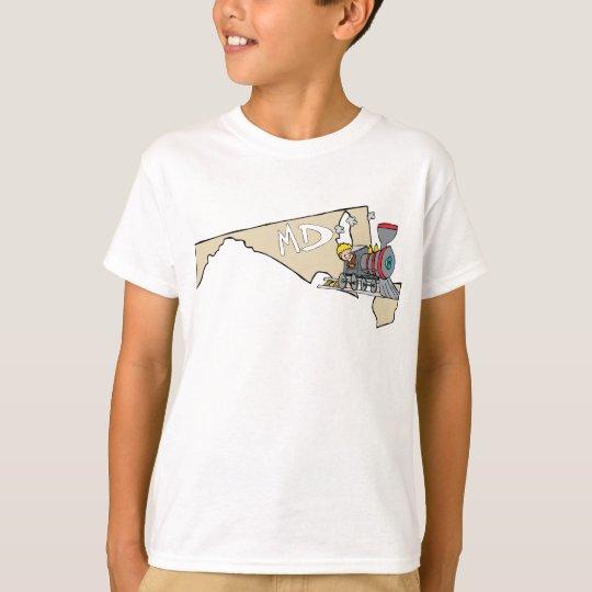 Maryland MD Map & Locomotive Cartoon Art Motto T-Shirt