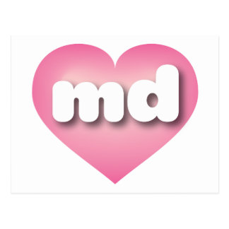 Maryland md pink fade heart postcard