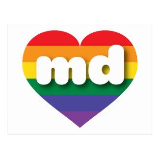 Maryland md rainbow pride heart postcard