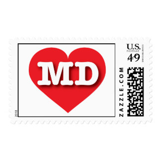 Maryland MD red heart Postage Stamp