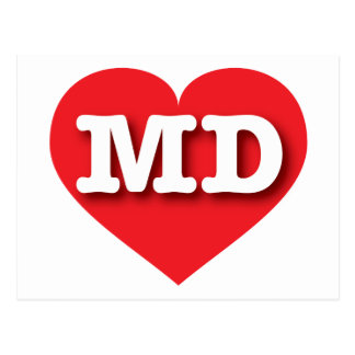 Maryland MD red heart Postcard