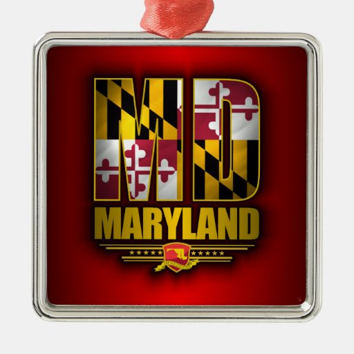 Maryland (MD) Square Metal Christmas Ornament