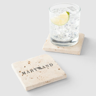 Maryland Name with State Shaped Letter Stone Coaster