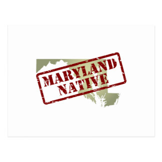 Maryland Native Stamped on Map Postcard