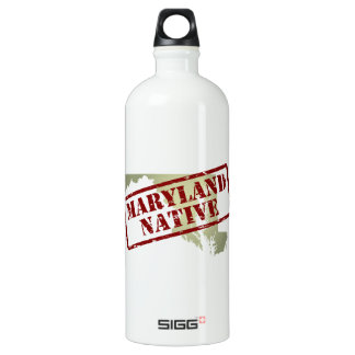 Maryland Native Stamped on Map Water Bottle