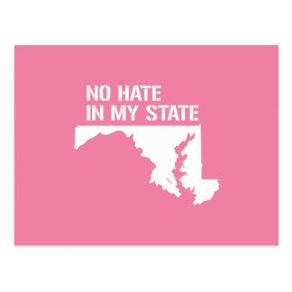 Maryland: Ningún odio en mi estado Tarjeta Postal