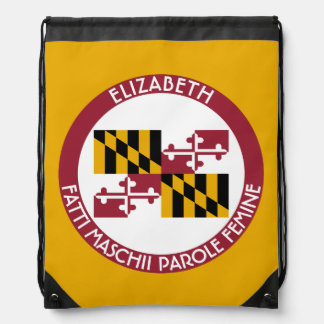 Maryland Old Line State Personalized Flag Drawstring Bag
