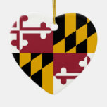 Maryland Double-Sided Heart Ceramic Christmas Ornament