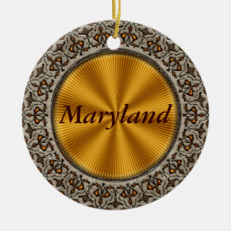 Maryland Double-Sided Ceramic Round Christmas Ornament
