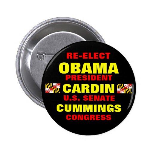 Maryland para los Cummings de Obama Cardin Pins