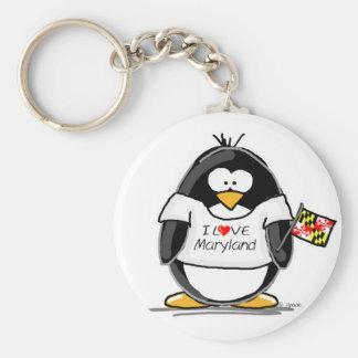 Maryland Penguin Basic Round Button Keychain