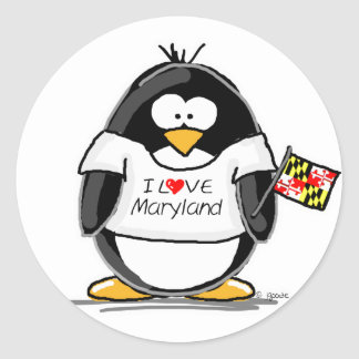 Maryland Penguin Classic Round Sticker