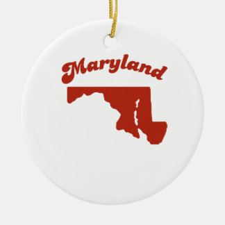 MARYLAND Red State Double-Sided Ceramic Round Christmas Ornament