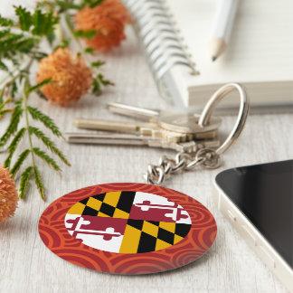 Maryland round flag basic round button keychain