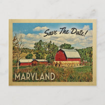 Maryland Save The Date Farm Barn Rustic Announcement Postcard