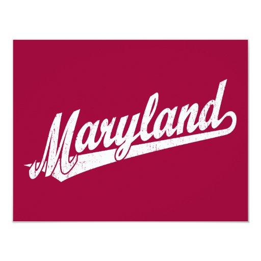 Maryland script logo in white distressed 4.25x5.5 paper invitation card