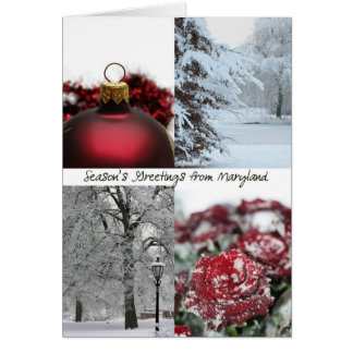 Maryland Season's Greetings - Red Winter collage Greeting Card