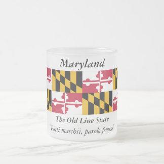 Maryland State Flag 10 Oz Frosted Glass Coffee Mug