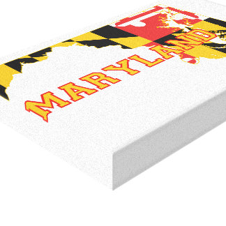 Maryland state Flag and Map Canvas Print