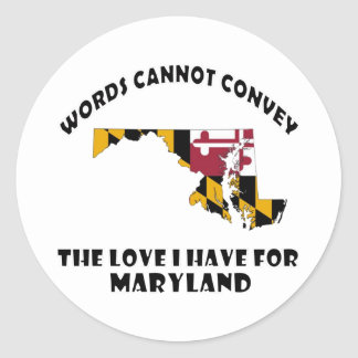 Maryland state flag and map designs classic round sticker