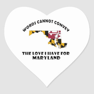 Maryland state flag and map designs heart sticker