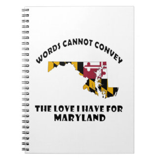 Maryland state flag and map designs notebook