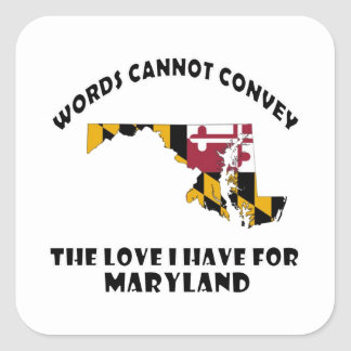 Maryland state flag and map designs square sticker