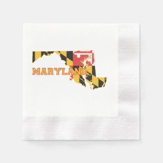 Maryland state Flag and Map Napkin