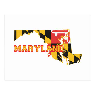 Maryland state Flag and Map Postcard