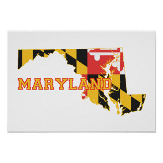 Maryland state Flag and Map Poster