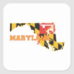 Maryland state Flag and Map Square Sticker