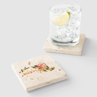 Maryland state Flag and Map Stone Coaster