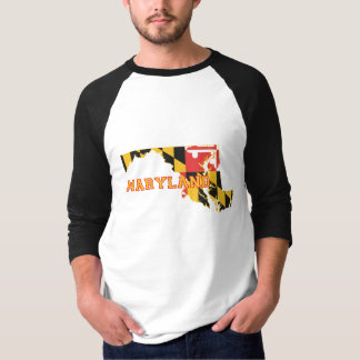 Maryland state Flag and Map T-Shirt