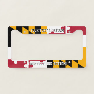 Maryland State Flag Design on a Personalized License Plate Frame