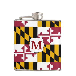 Maryland State Flag Monogram Flask