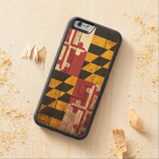 Maryland State Flag on Old Wood Grain Carved Maple iPhone 6 Bumper Case