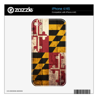 Maryland State Flag on Old Wood Grain Decals For iPhone 4