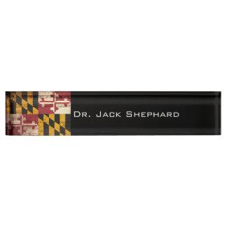 Maryland State Flag on Old Wood Grain Desk Name Plate