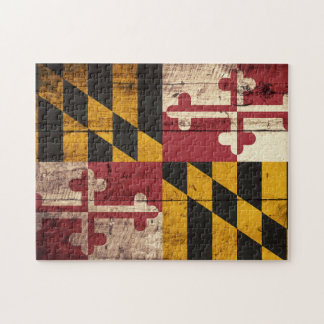 Maryland State Flag on Old Wood Grain Jigsaw Puzzle