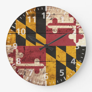 Maryland State Flag on Old Wood Grain Large Clock