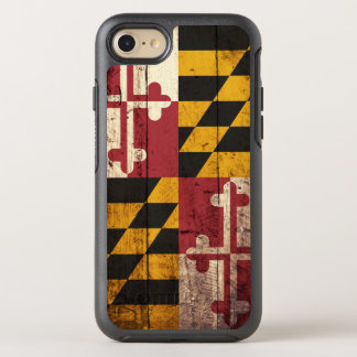 Maryland State Flag on Old Wood Grain OtterBox Symmetry iPhone 7 Case