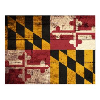 Maryland State Flag on Old Wood Grain Postcard
