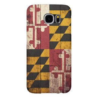 Maryland State Flag on Old Wood Grain Samsung Galaxy S6 Case