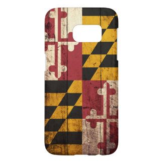 Maryland State Flag on Old Wood Grain Samsung Galaxy S7 Case