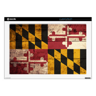 """Maryland State Flag on Old Wood Grain 17"""" Laptop Decal"""