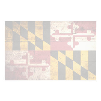 Maryland State Flag on Old Wood Grain Stationery