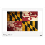 Maryland State Flag on Old Wood Grain Wall Sticker